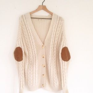 Olive & Oak cream and brown elbow patch cardigan